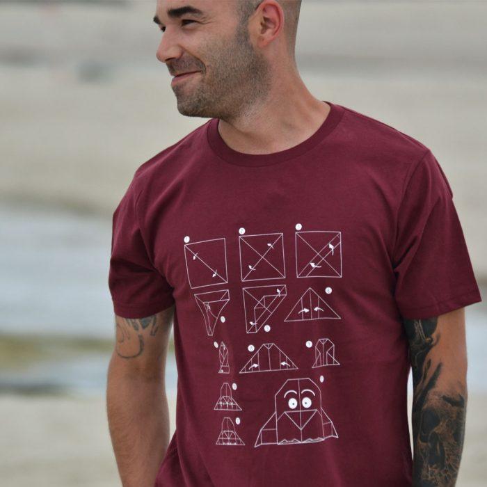 camiseta-hombre-eco-pinguino-origami-burdeos