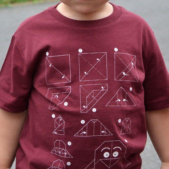 camiseta-pinguino-nino-eco-burdeos-origami