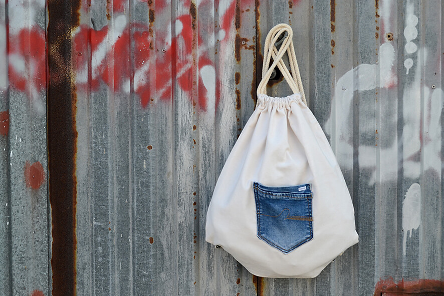 mochila saco de tela reciclada