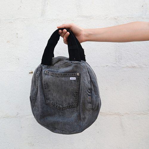 bolso vaquero gris con asa negra