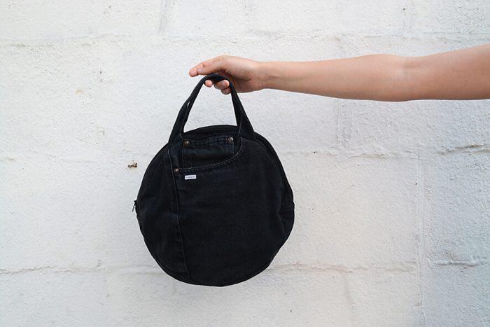 bolso vaquero negro bolsillo dentro