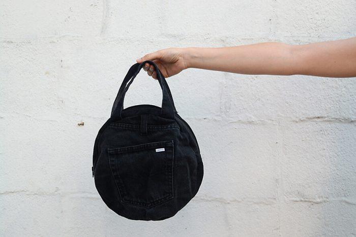 bolso vaquero negro bolsillo exterior