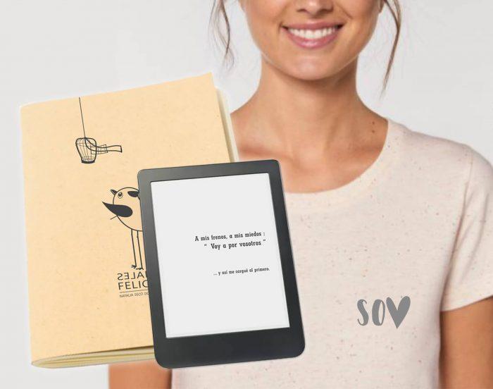 libro digital más camiseta blanca