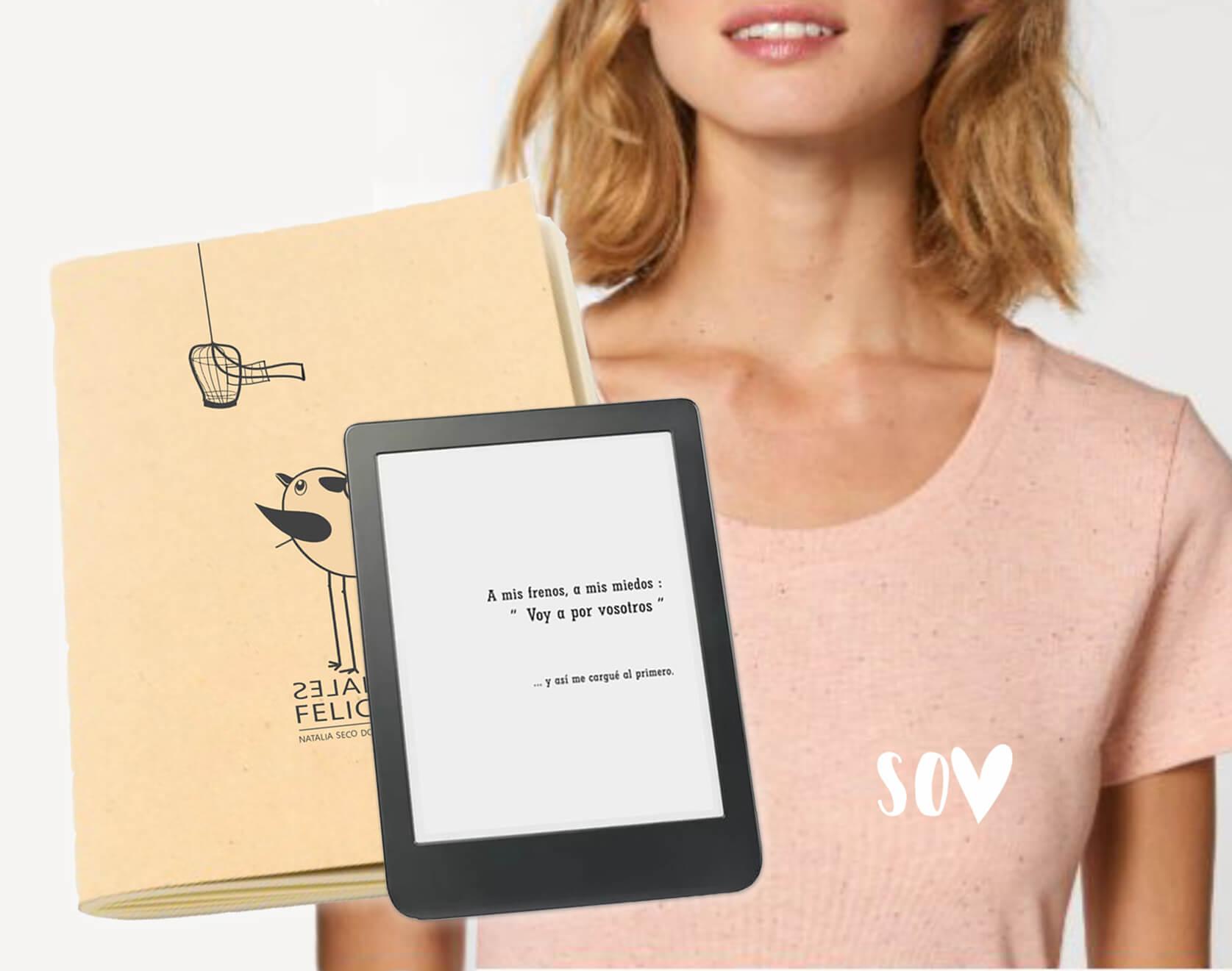 libro digital más camiseta rosa