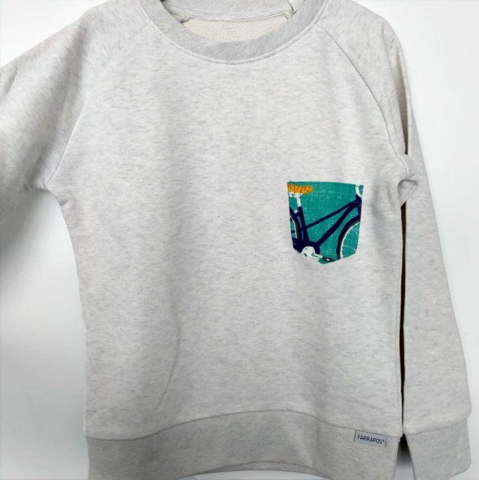 sudadera algodón orgánico infantil con bolsillo